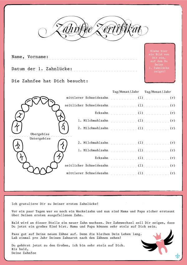 Zahnfee Zertifikat Brief von der Zahnfee in rosa jetzt auch für ...