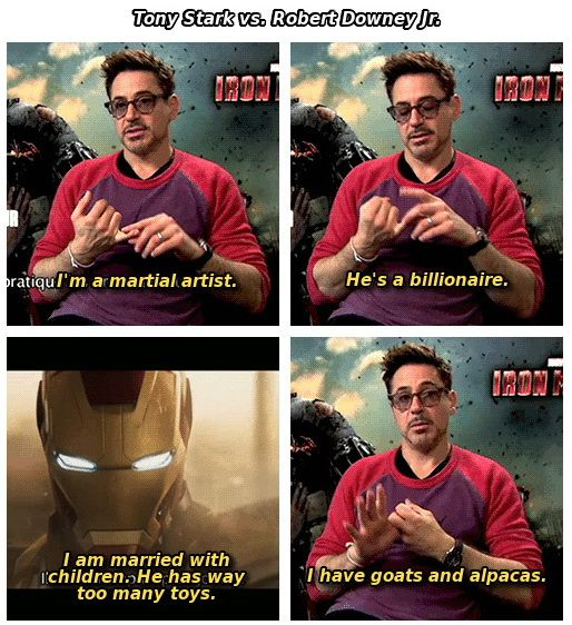 Tony Stark vs RDJ. Goats and alpacas for the win!