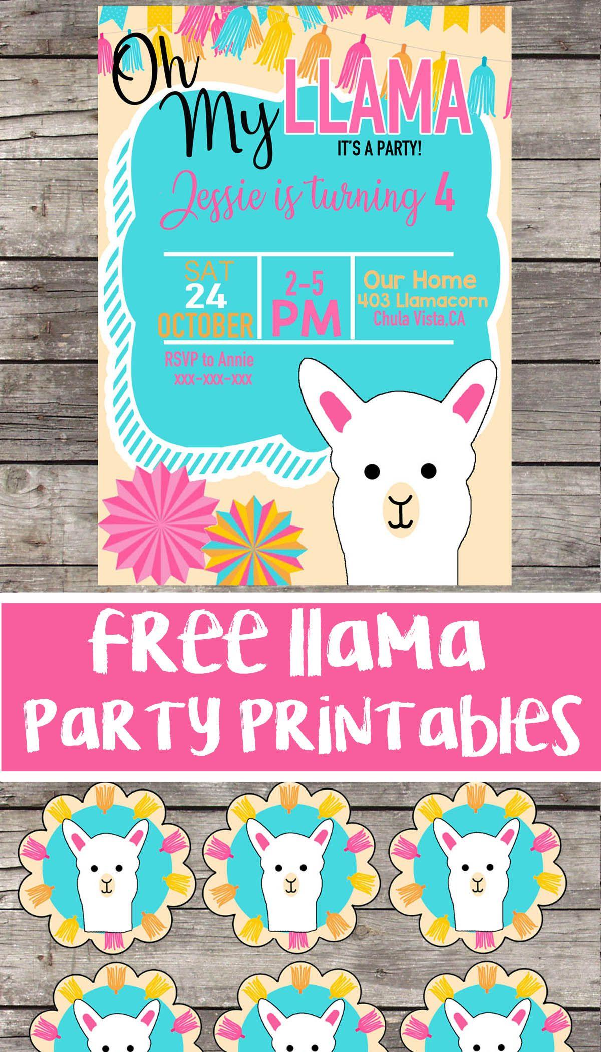 Free Llama Birthday Party Printable Files Invitation