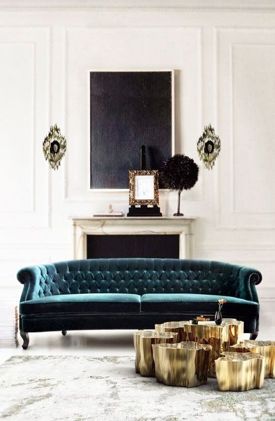 Teal Sofa Gold Coffee Table Cluster And Blackboard Artwork