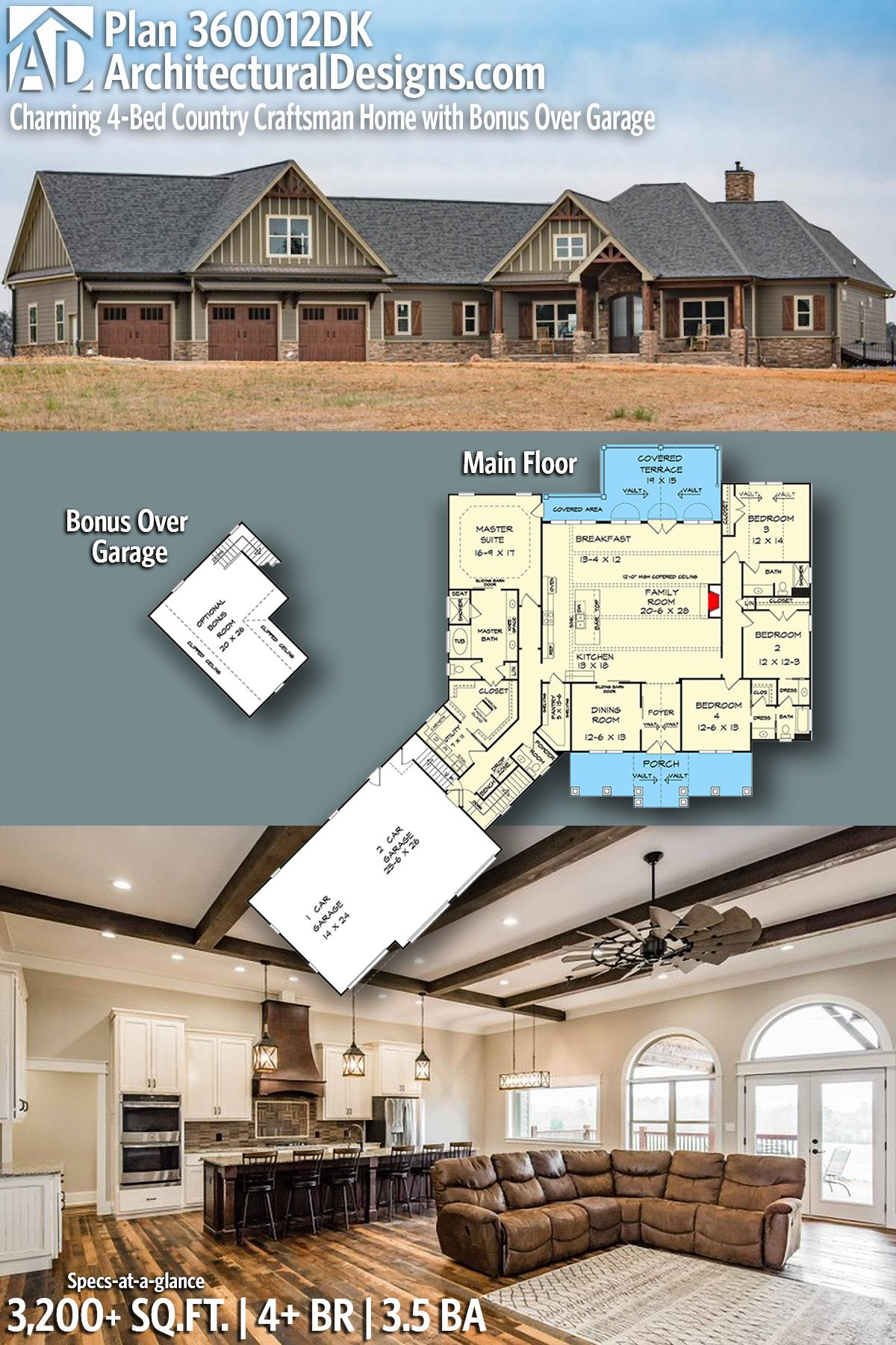 Plan 360012dk Charming 4 Bed Country Craftsman Home With Bonus Over Garage Craftsman House Craftsman House Plan New House Plans