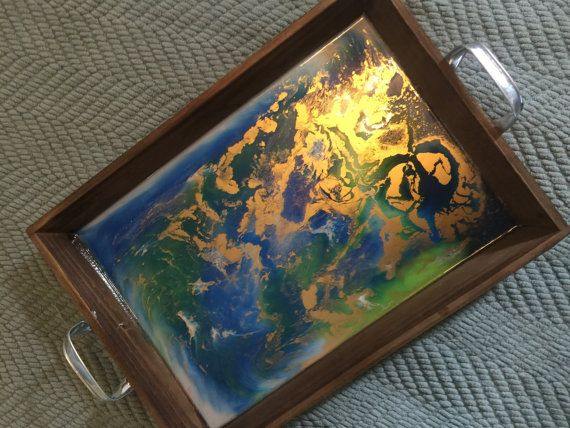 Unique resin art serving tray - cobalt blue, lime green, white with beautiful gold accents. One of a kind and signed by the artist!  Approximately 12 inches wide by 17 inches long.  Signed by artist - one of a kind piece of functional art. Custom orders also available.