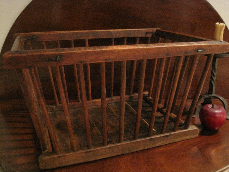 Vintage crib for sale - Antique 1800 S New England Shaker Wooden Dowel Crib Basket For Sale North Bayshore Antiques