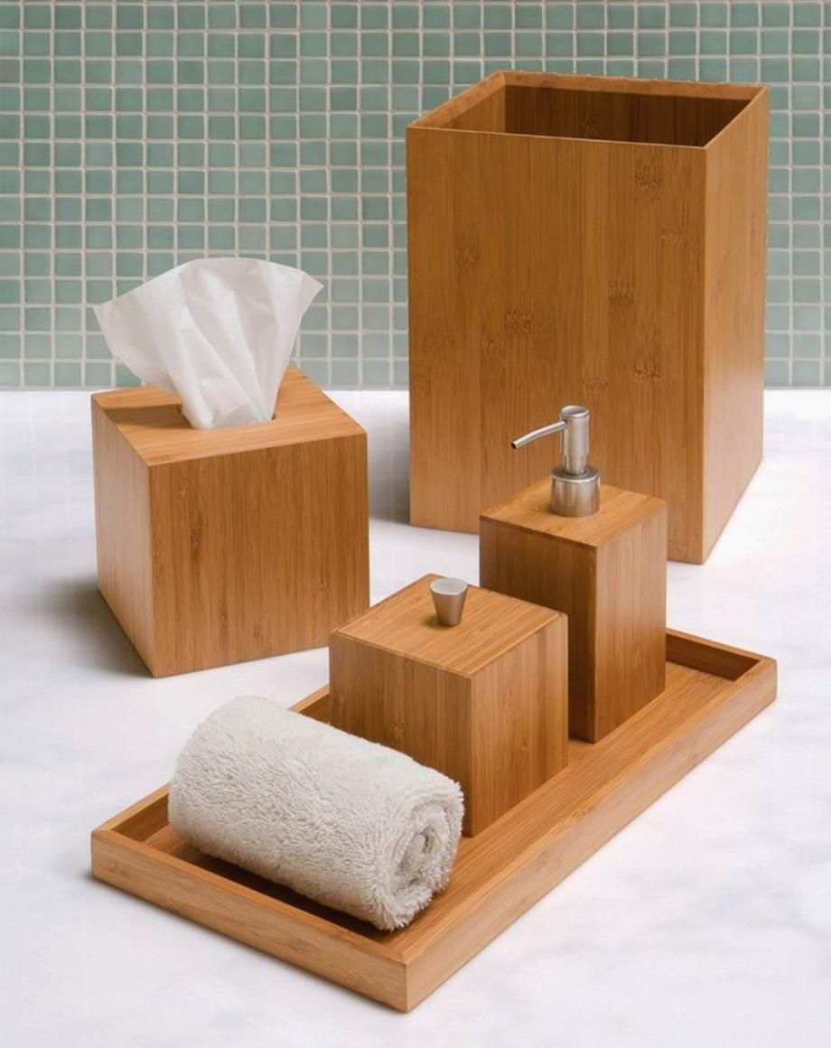 37 Perfect Wooden Bathroom Accessories Set