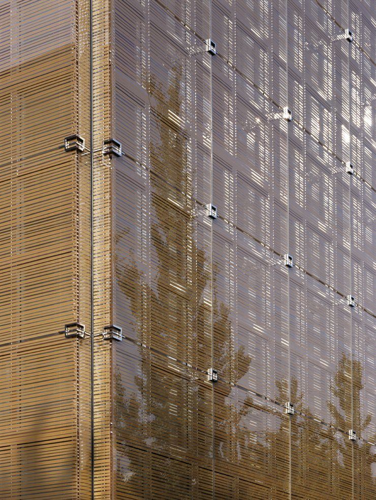 The facade is a double skin glass structure silkscreen for Outer wall design architecture