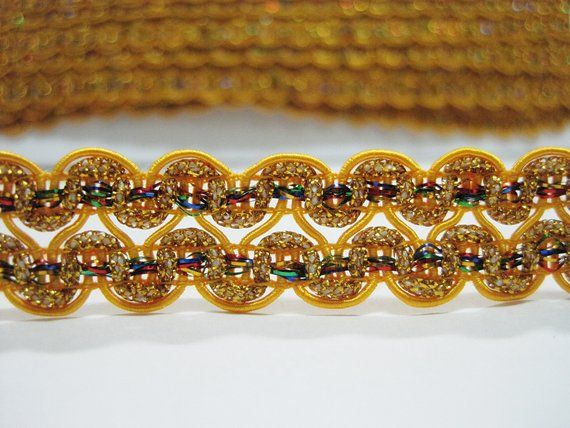 """Beaded Trim Sold by the Yard ~ 1.5/"""" Drop ~ Pink Orange Yellow Blue **NEW**"""