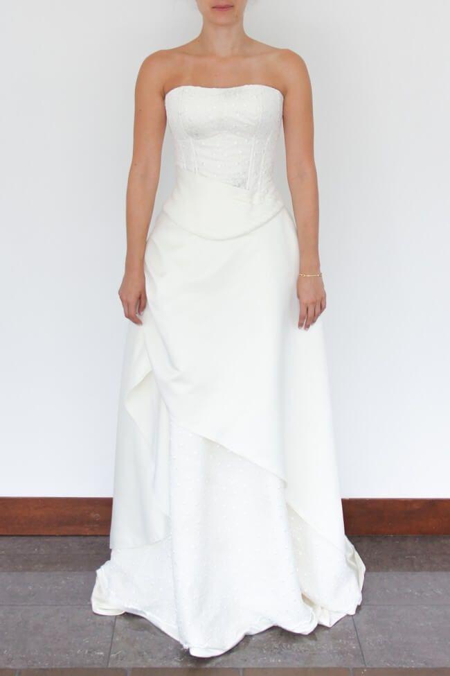 vestido novia sirena. 2 piezas, corset que estiliza la figura