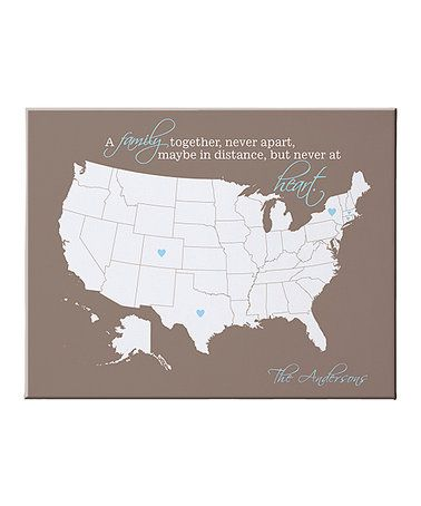 16'' Tan 'A Family Together' Heart Map Personalized Canvas #zulily #zulilyfinds