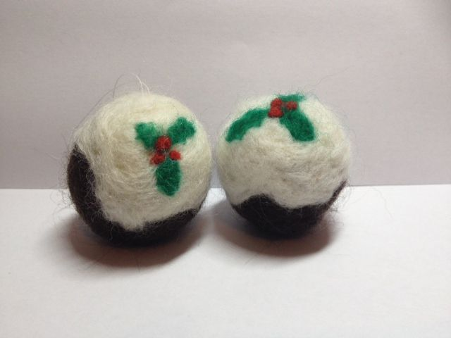 Needle Felted Christmas Puddings