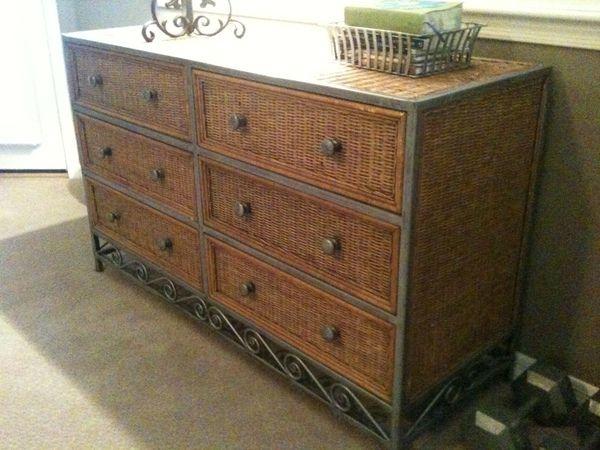 Pier 1 Wicker / Metal 6 Drawer Dresser | Home | Wicker ...