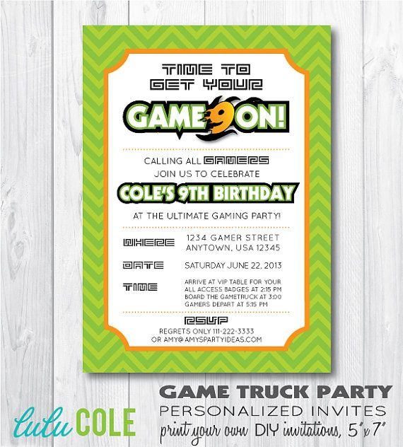 Game truck gamer personalized birthday party by lulucole on etsy video game truck birthday party game truck invitation by lulucole stopboris Image collections