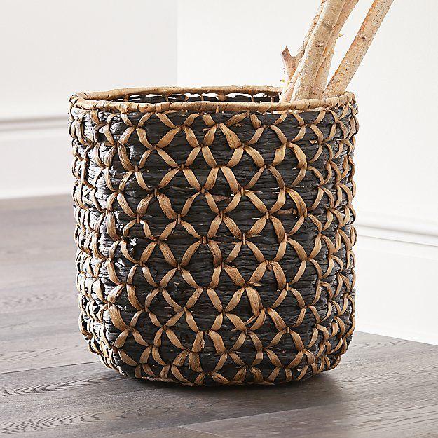 Safiyah Woven Black and Natural Basket + Reviews | Crate and Barrel