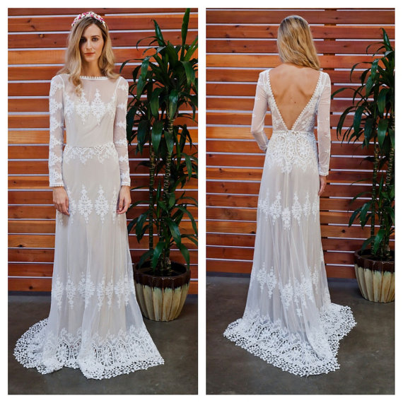 Vintage Wedding Dresses Canada: Lisa Lace Bohemian Wedding Dress
