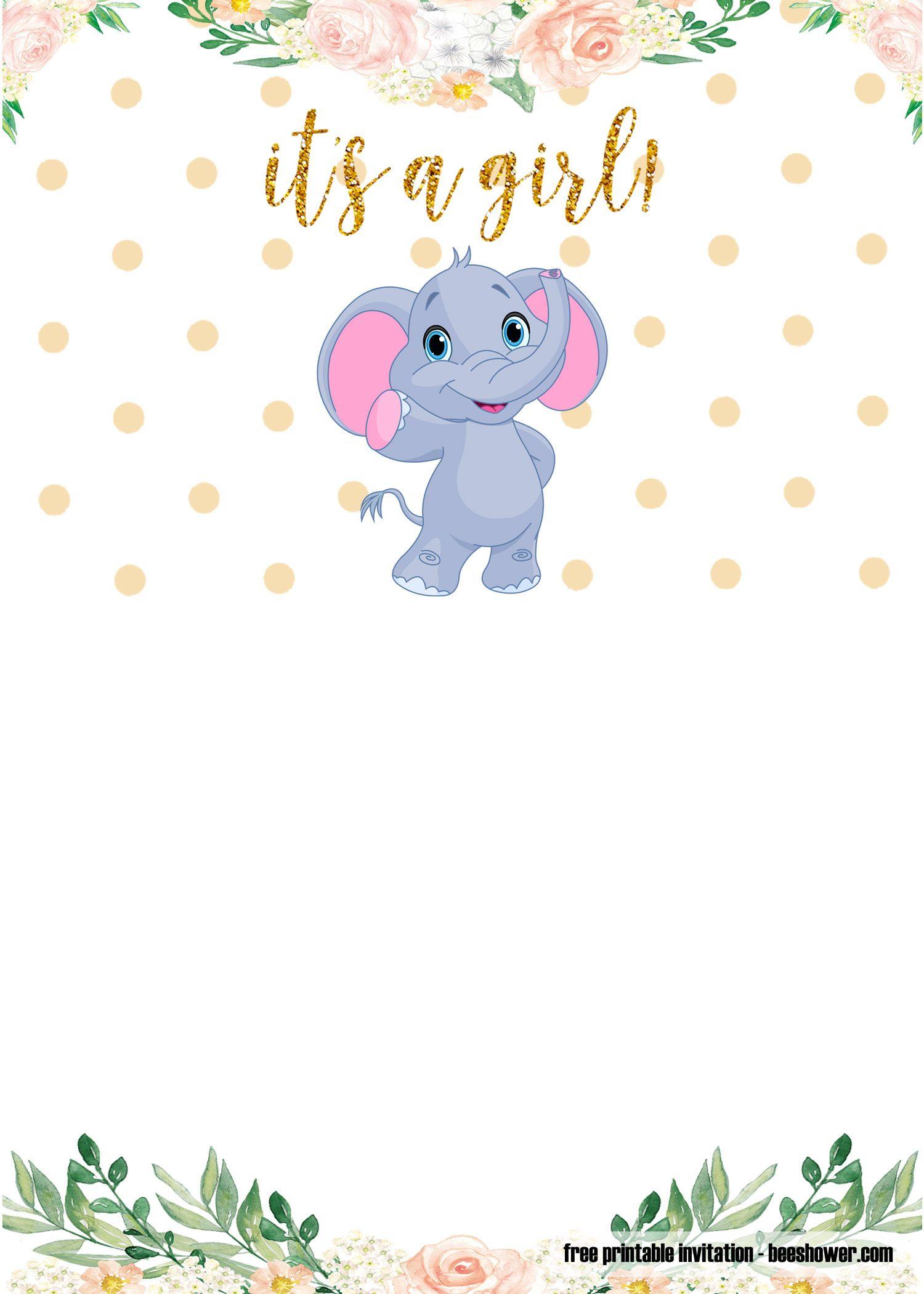 FREE Printable Elephant Baby Shower Invitations Templates ...