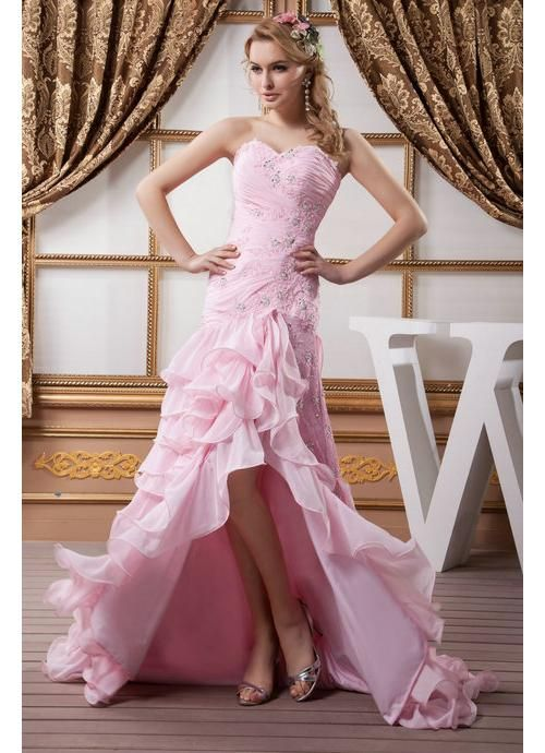Pink Wedding Dress With High Split This Is Adorable