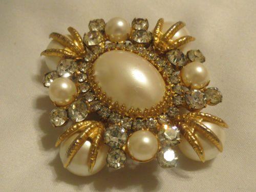 Vintage Schreiner rhinestone pearl talon brooch pin