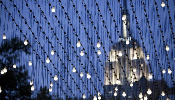 """Jim Campbell """"Scattered Light."""" Madison Square Park, NYC."""