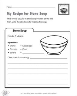 stone soup folk fairy tale easy readers mini book worksheet school stone soup soup. Black Bedroom Furniture Sets. Home Design Ideas