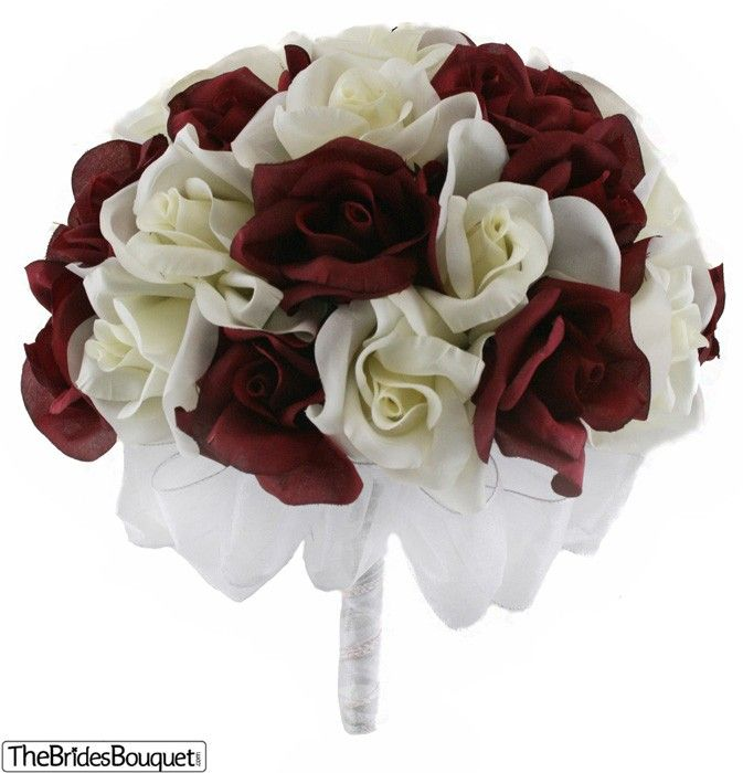 Wedding Bouquets Without Flowers: Cream Roses With Maroon Tips Wedding Bouquet