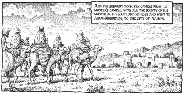 Robert Crumb - The story of Abram (Abraham) - Abraham's servant sets off to find a wide for Isaac (Genesis 24:10)