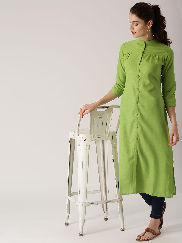 Olive green straight kurti back kurties pinterest kurti