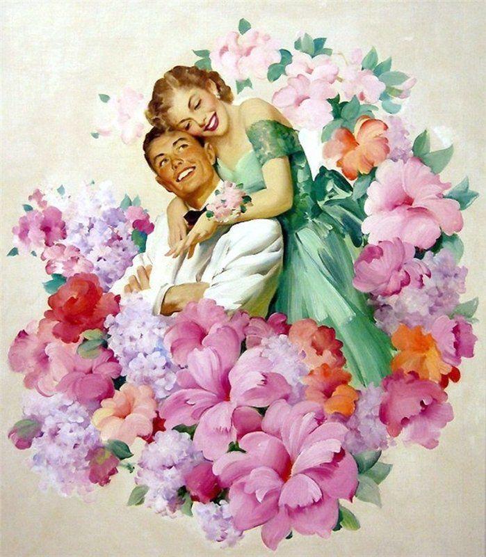 Открытку, картинки девочка с цветами в руках винтаж