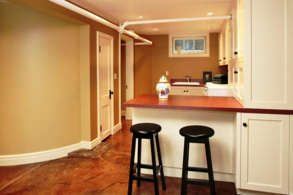 Interior:High Functional Small Basement Ideas With Smart Basement  Remodeling For Kitchen With Two Bar