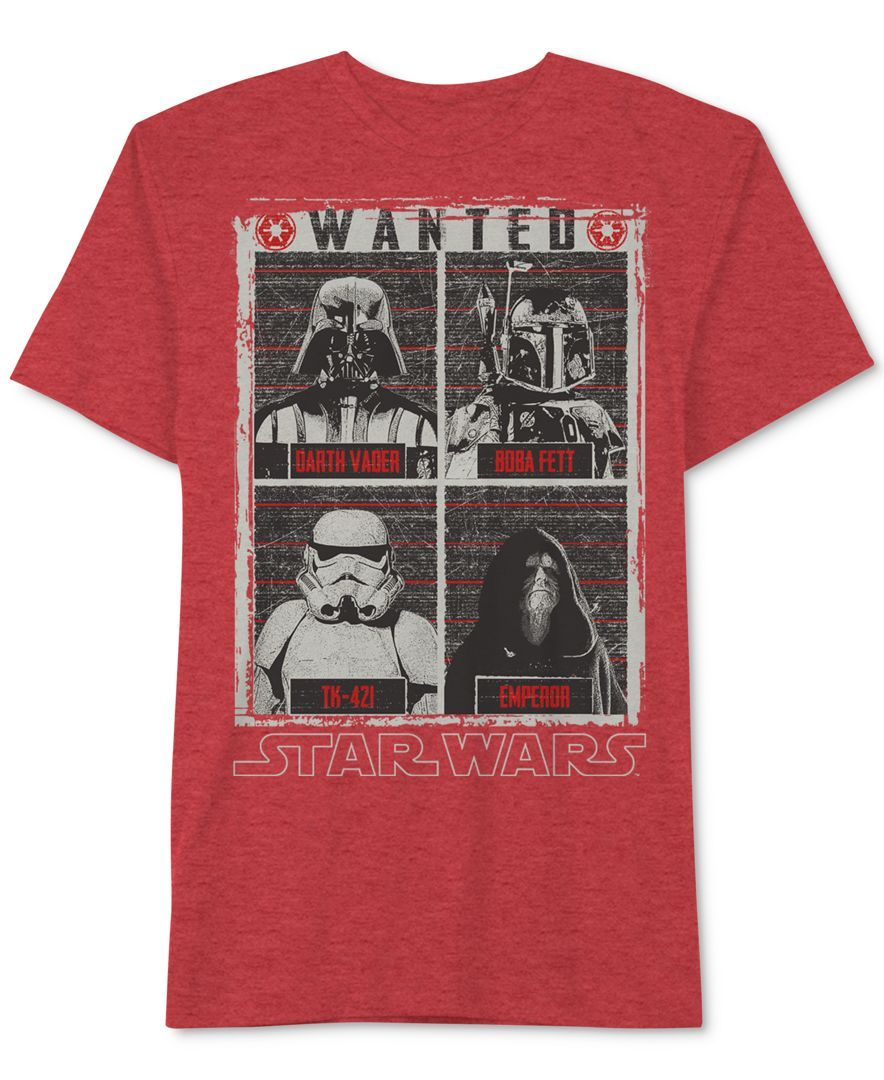Star Wars Boys' Wanted Darth Vader, Emperor, Boba Fett & Tk-421 T-Shirt