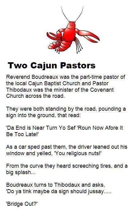 Two Cajun Pastors Joke Louisiana Religious Jokes