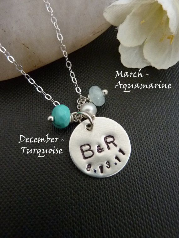 PERSONALIZED Sterling Silver Disc 2 Initials date by JCGemsJewelry, $39.95