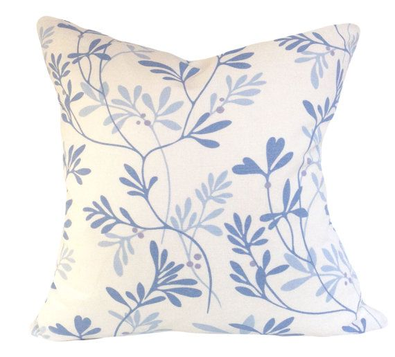 """This Jane Churchill Blue Floral Vita Decorative Pillow Cover, For Cowtan & Tout, is a Stunning Modern Throw Pillow that Showcases the ..""""VITA BLUE"""".. Print Designer Pattern, From the Alba Collection.  This Pattern Features a Floral Design that Includes Winding and Encircling Vines with Berries. The Colors are Soft Blues (Light / Powder and Medium), Against a Cream Background, with the Same Fabric on Both Sides."""