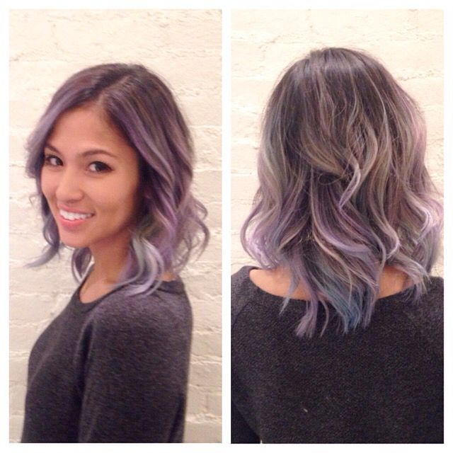 Bleached Brunette Hair With Grey Toner And Manic Panic Pastel Blue