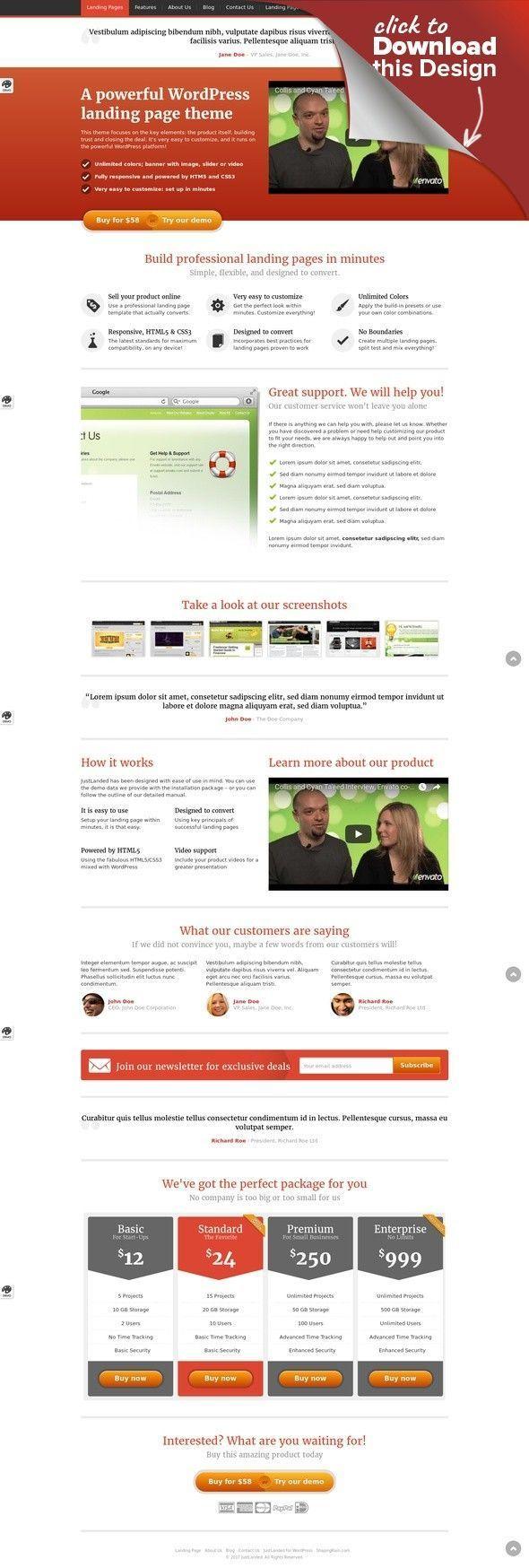 JustLanded WordPress Landing Page Business Clean Creative - Sales page template wordpress