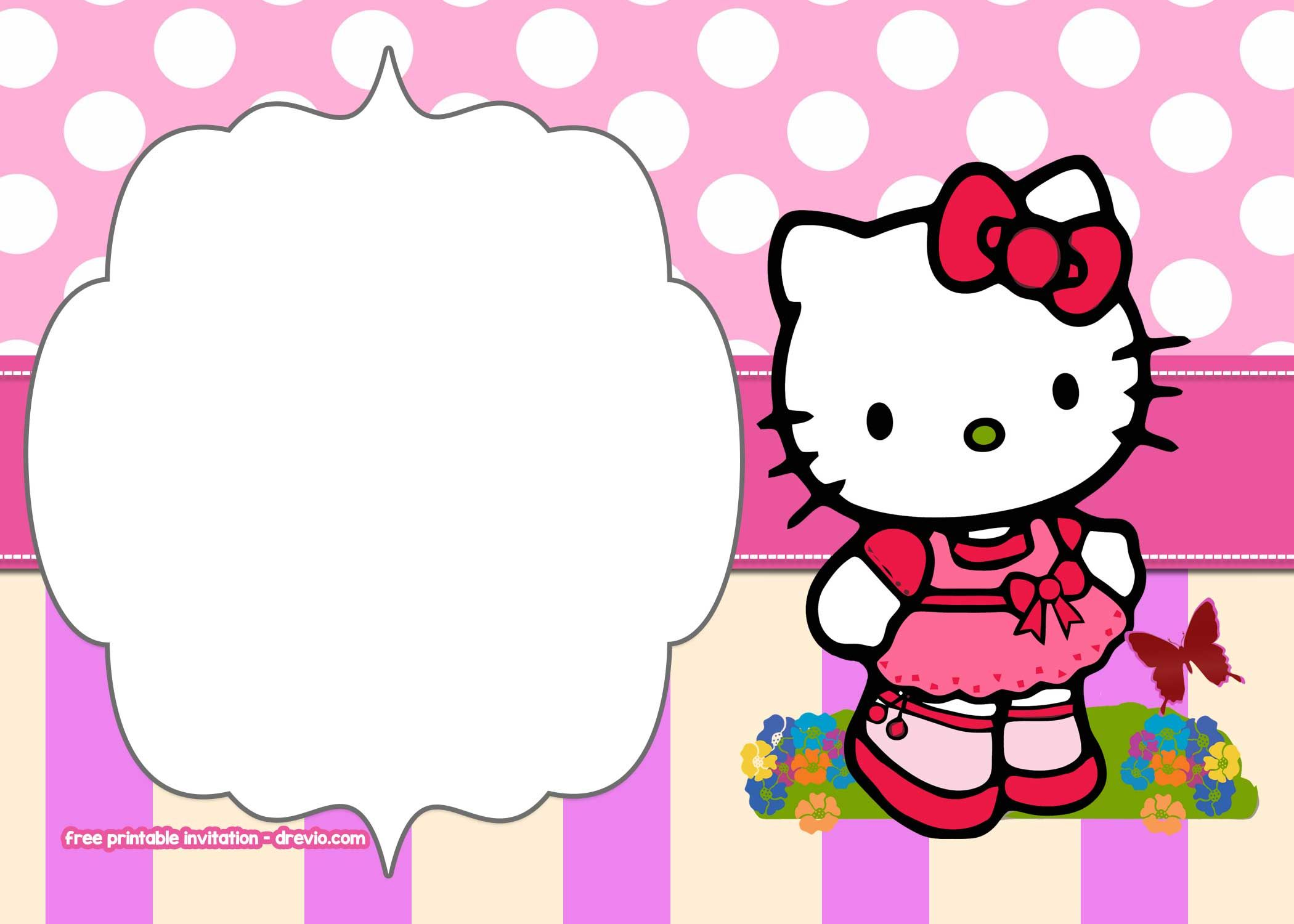 free printable hello kitty pink polka dot invitation templates