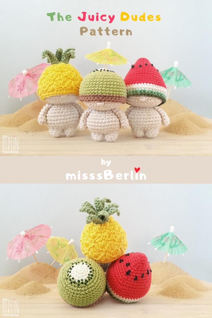 Amigurumi pattern fruit mini doll • A 3-in-1 crochet PDF tutorial