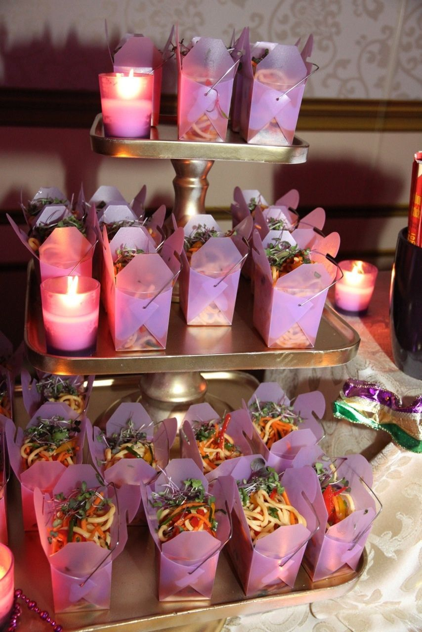 Chinese noodles in take out containers for a Sweet 16 at