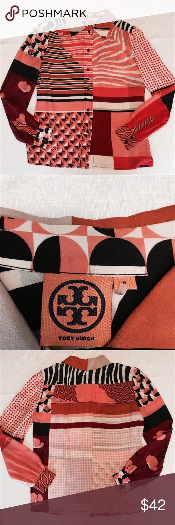 Tory Burch silk button down.  Like new. Stunning geometric print silk. Tory Burch Tops Button Down Shirts