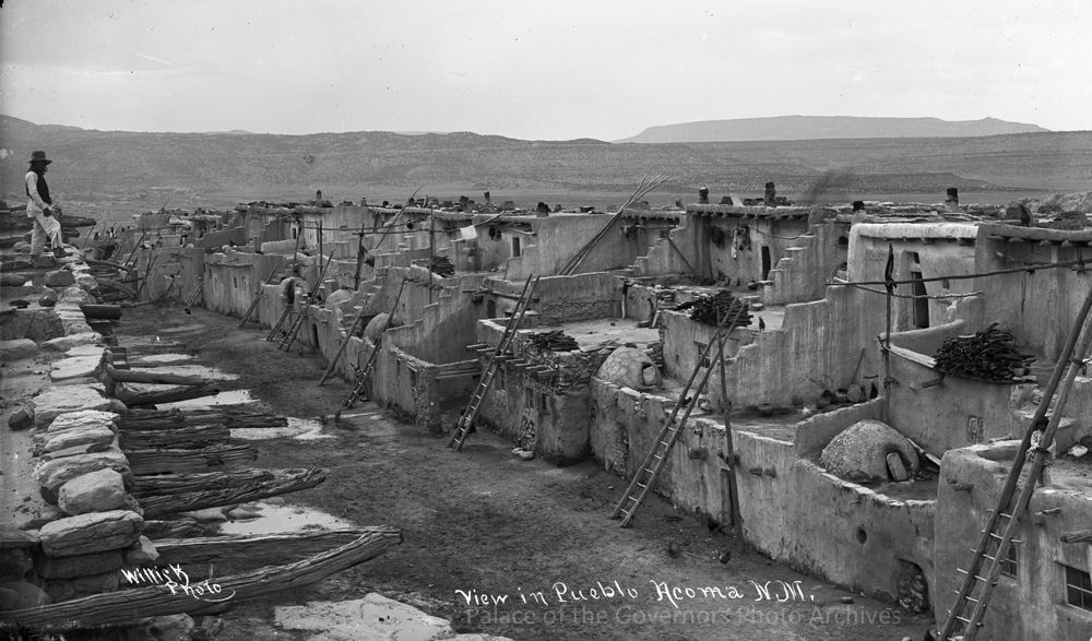"""pogphotoarchives: """" View in Acoma Pueblo, New Mexico Photographer: Ben Wittick Date: 1880 - 1890? Negative Number 016045 """""""