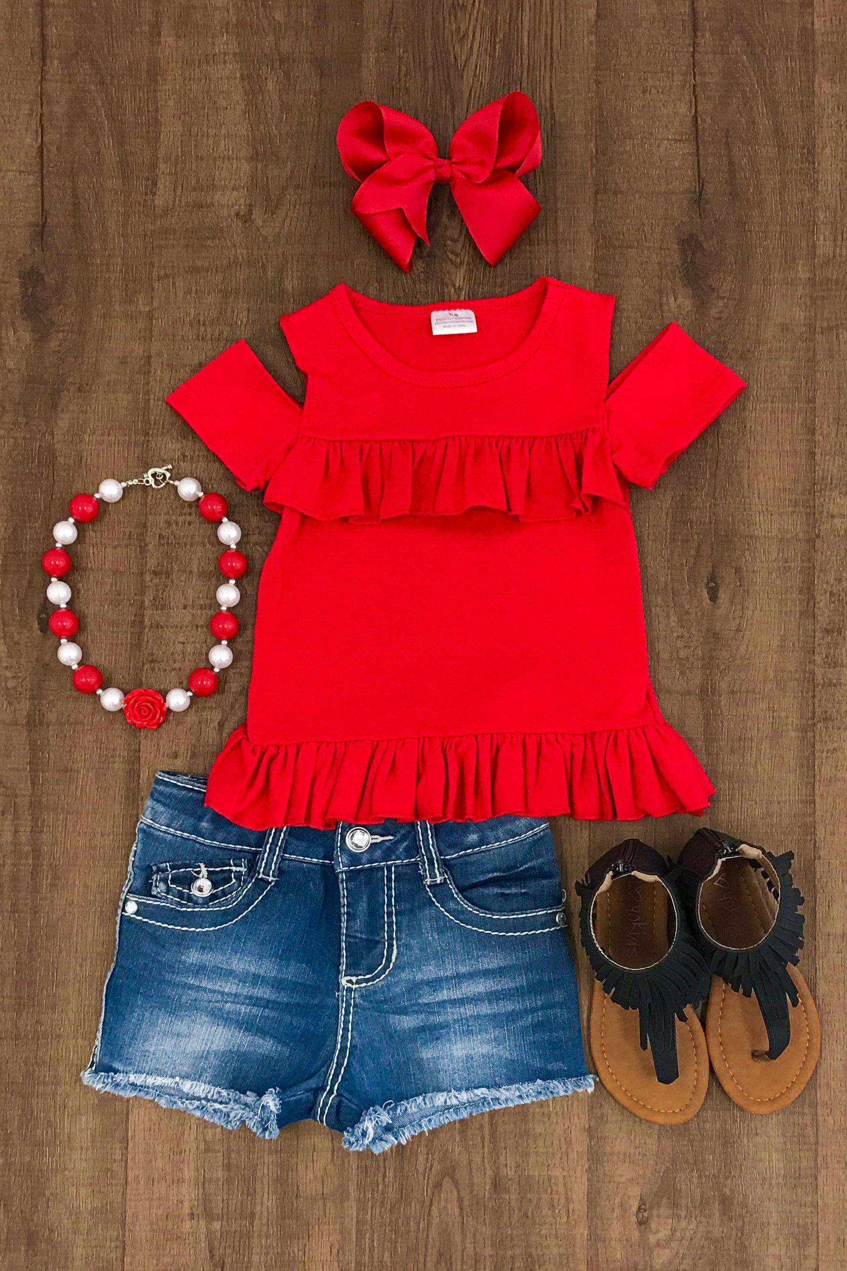Red Sunkissed Shoulder Shirt Boutique Outfits Kids Fashion Cute