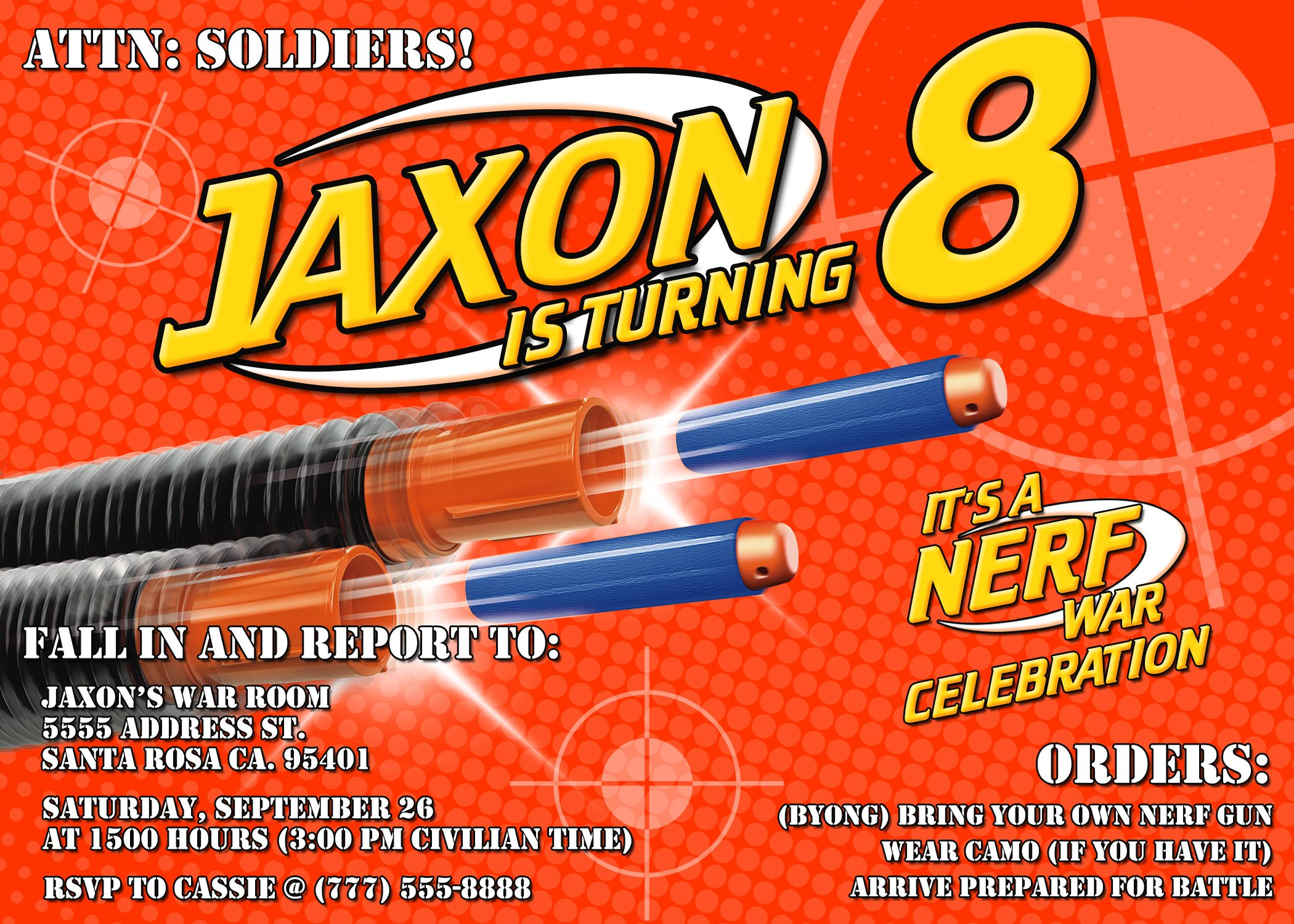 Nerf Birthday Party Invitations Nerf Nerf party and Nerf war