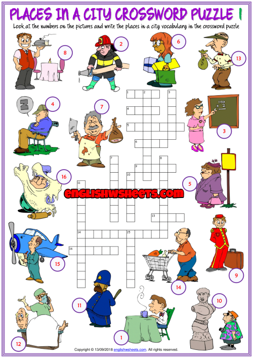 Places in a City Crossword Puzzle ESL Printable Worksheets