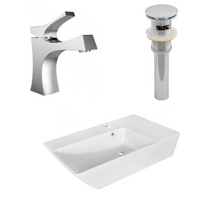 Avanities Above Counter Ceramic Rectangular Vessel Bathroom Sink with Faucet and Overflow | Wayfair