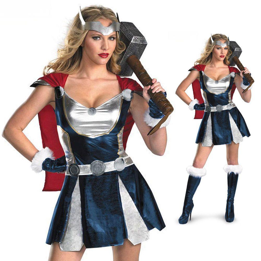 Halloween Party Women Sexy Thor Costumes Super Hero Cosplay Dress ...