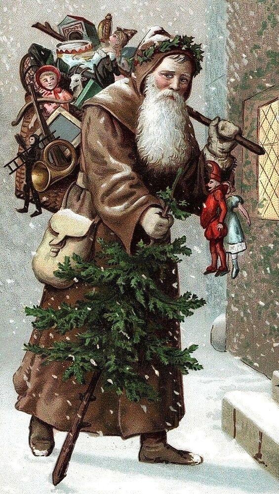 Photo of 132.00 1880's Victorian Christmas Card Santa Brown Coat Basket Of Toys Tree Snow…