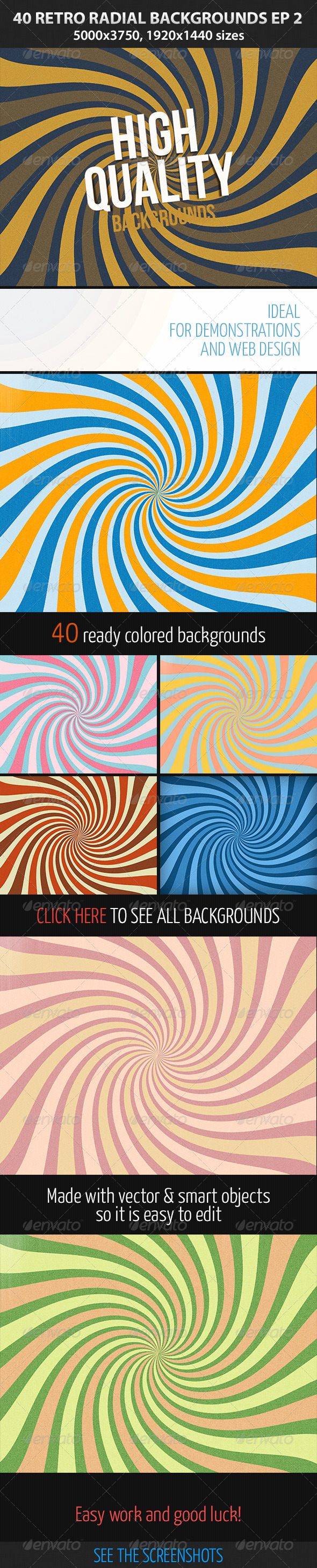 40 Retro Radial Backgrounds EP 2 Web patterns,