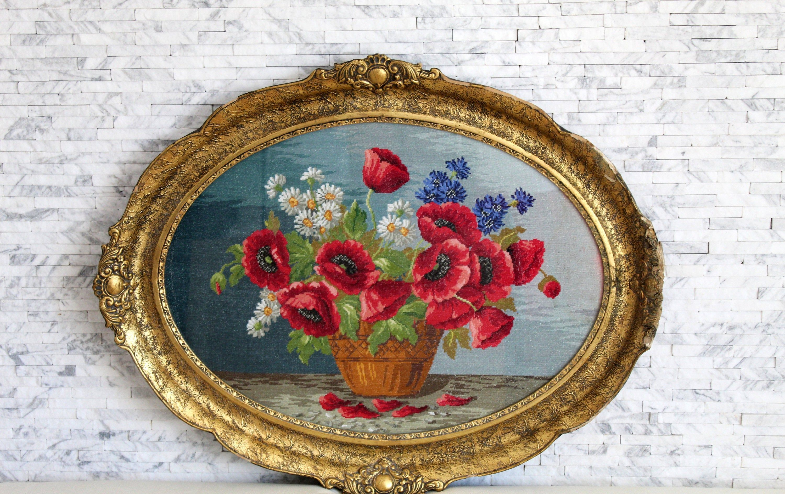 Handmade petit point tapestry 9x 13 Baroque wall art Finished needlepoint Completed cross stitch Vintage tapestry,Gobelin needlepoint
