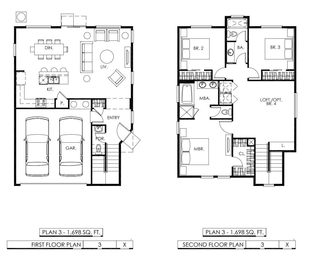 Plan 3 Boulder Gardens Homes Floorplan 3 Bedroom Plus A Loft With 2 5 Bathrooms And 2 Car Garage 1698 Square Feet Sta Floor Plans Second Floor How To Plan
