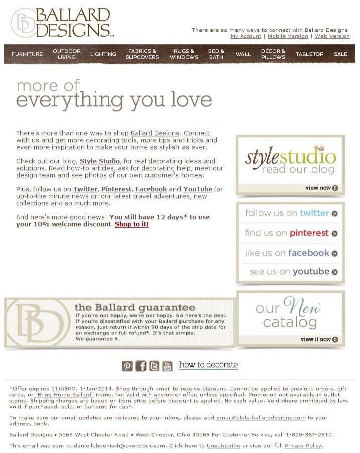 Ballard Designs Welcome Email 2 12 20 2013 SL