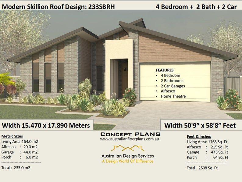 House Plan 233sbrh 2508 Sq Foot 233 M2 4 Bedroom House Plans Cheap Home Plans 4 Bedroom 4 Bed Floor Plans 4 Bed Home Theatre 4 Bedroom House Plans Bedroom House Plans House Plans
