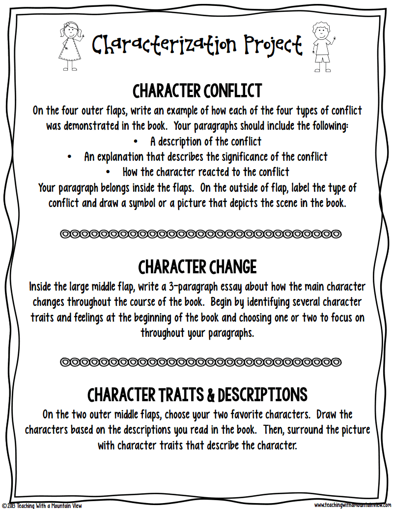 characterization project details school d and projects i mentioned in a this post and this post how we have been just knee deep in character study we were reading the novel rules which my st
